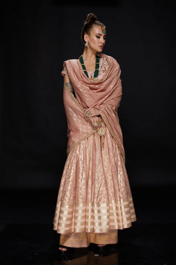 Baby Pink Anarkali with Pant and Dupatta