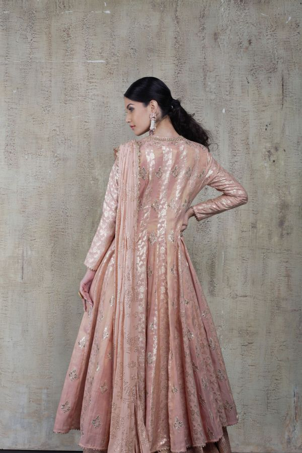 Baby Pink Cape with Floor Length Dress