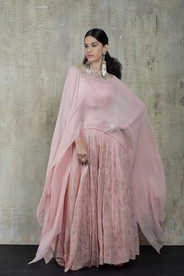 Baby Pink Cape with Sharara Pant and Bustier