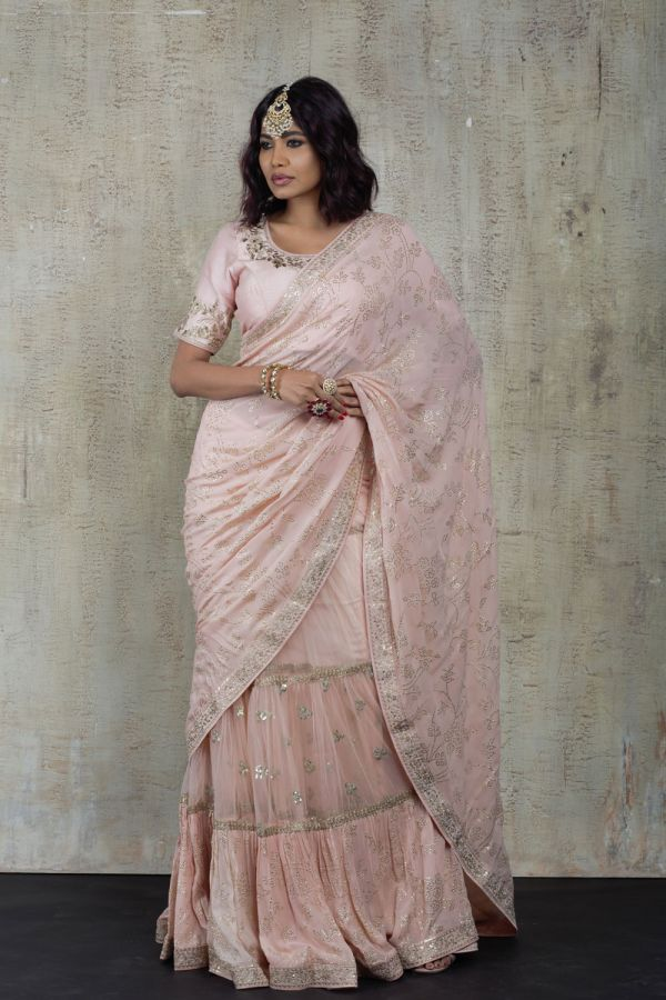 Baby Pink Gathered Saree with Choli