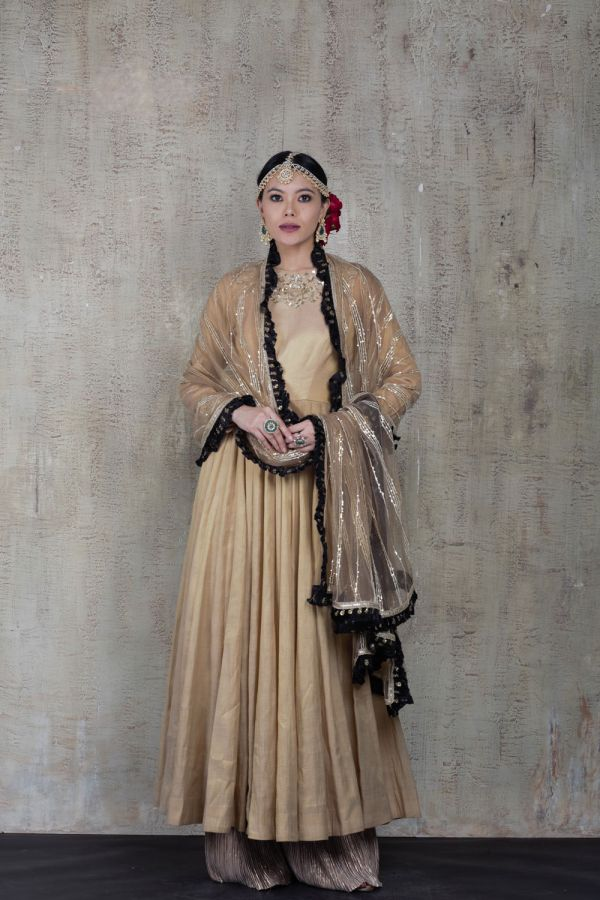Beige Anarkali with Pant and Net Dupatta