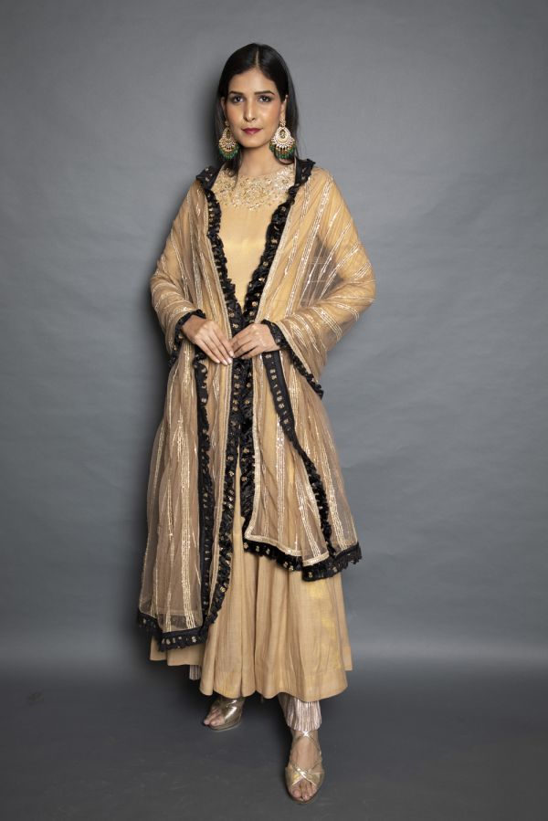 Beige Anarkali with Pants and Net Dupatta