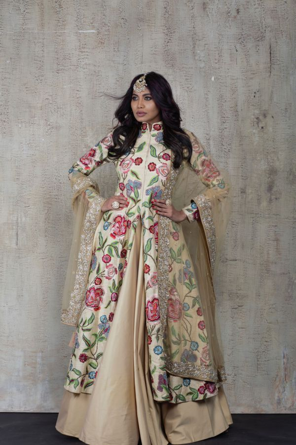 Beige Cape with Beige Skirt and Dupatta