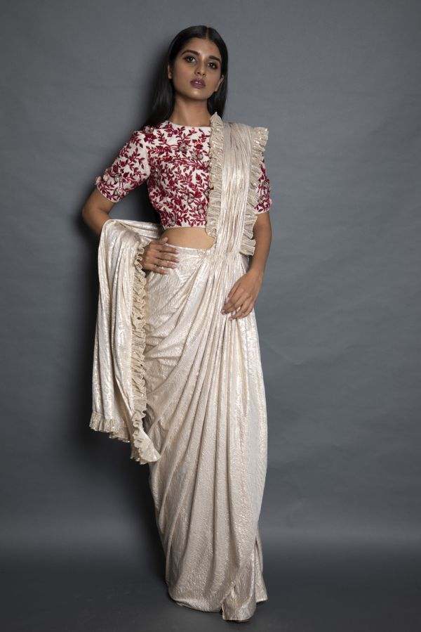 Beige Gold Drape Saree with Embroidered Blouse