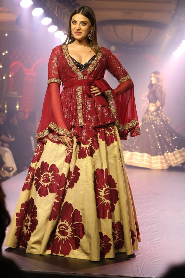 Beige Lehenga with Applique Work and Red Wrap Around Kedia Style