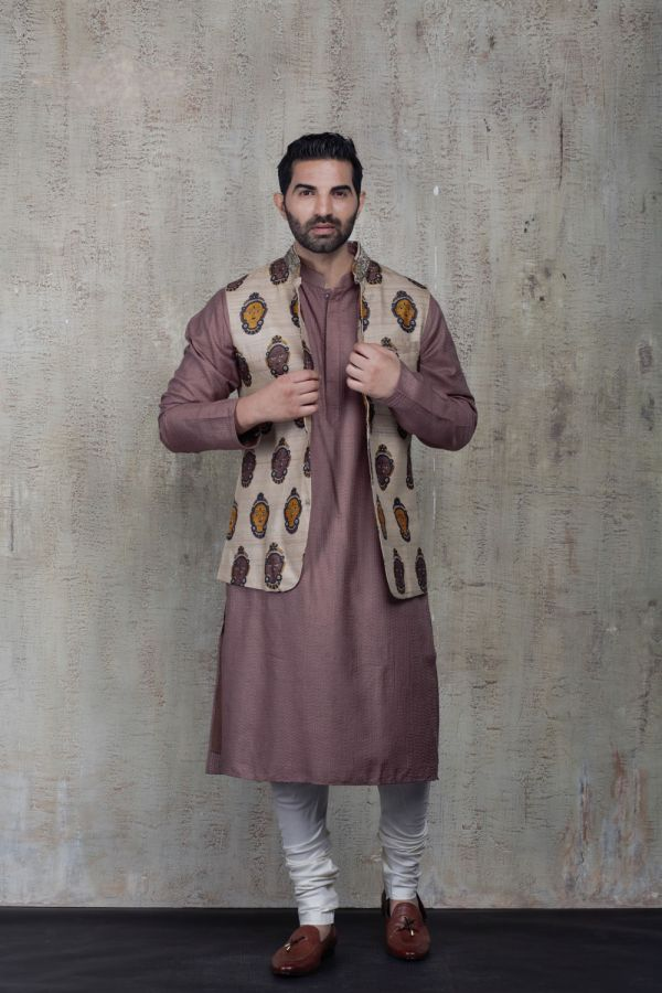 Beige Printed Bandi with Plain Kurta and Churidar