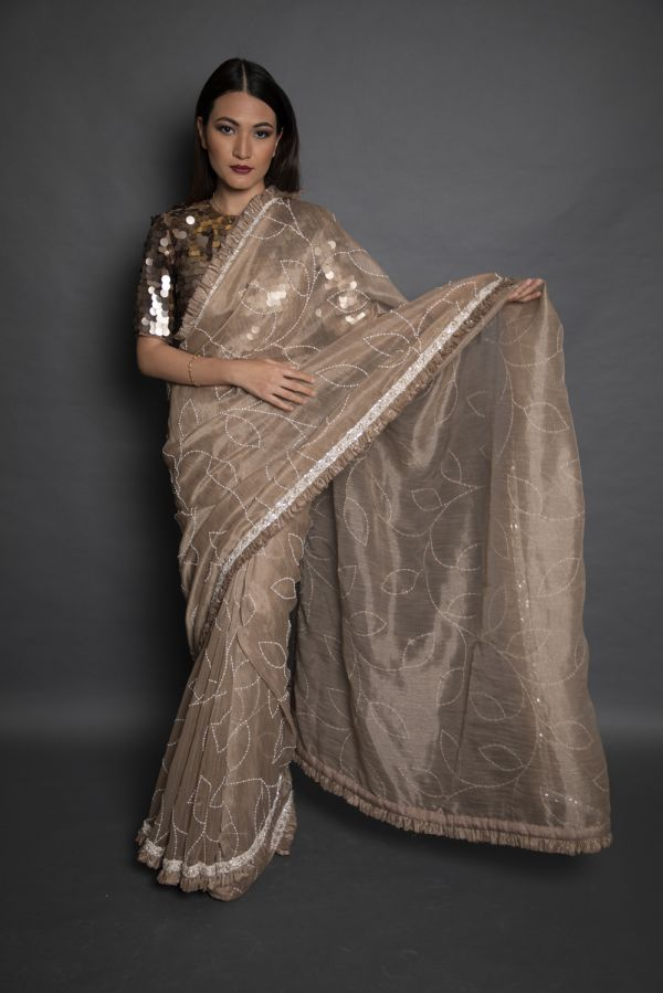 Beige Tissue Saree with Choli