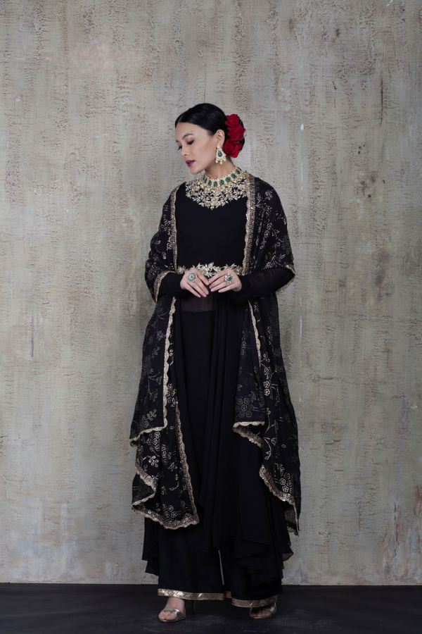 Black Anarkali with Pant and Dupatta