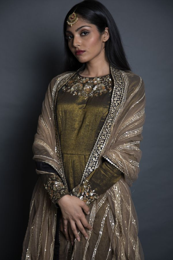 Black Anarkali with Pants and Beige Net Dupatta