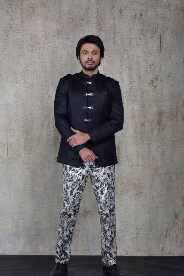 Black Bandhgala with Silver Brocade Pant