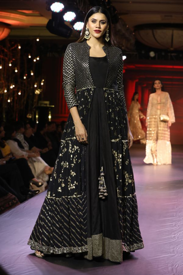 Black Full Length Jalidar with Cape On Top
