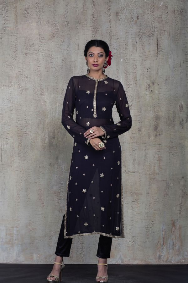 Black Kurta with Bustier and Pant
