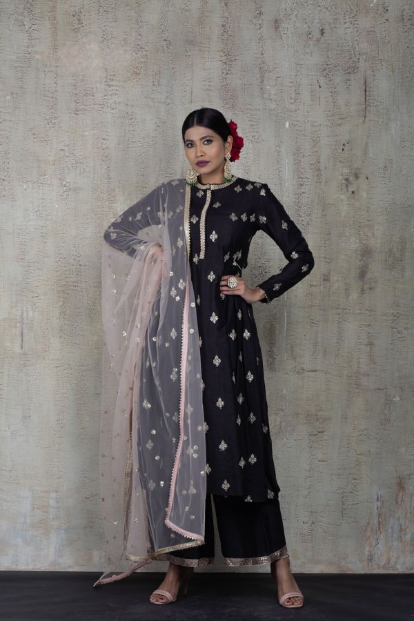 Black Side Gather Kurta with Pant and Baby Pink Dupatta