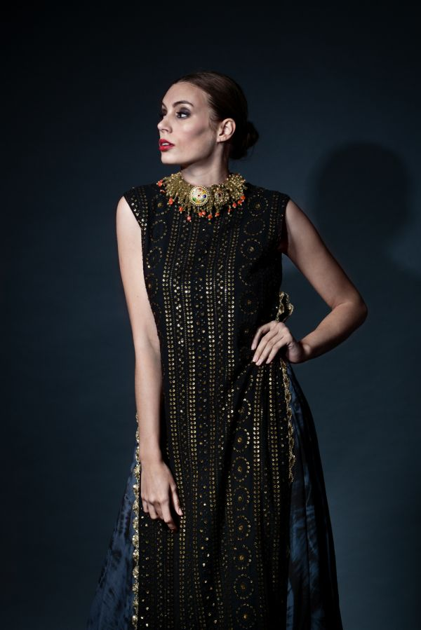 Black Thread Work Kurta with Asymmetric Inner Kalidaar and Pants
