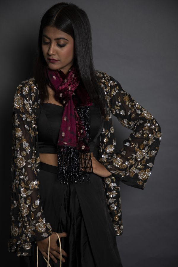 Black Tulip Pant with Open Cape and Stole