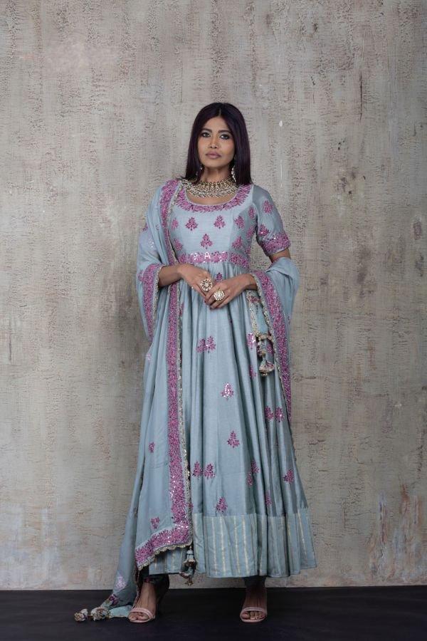 Blue Anarkali with Churidar and Dupatta