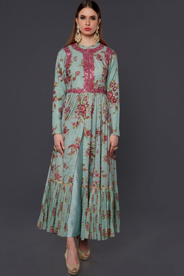 Blue and Pink Printed Cape with Pant