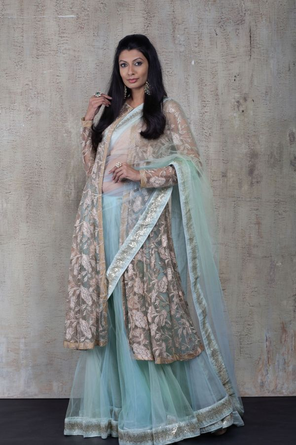 Blue Kali Saree with Cape and Bustier