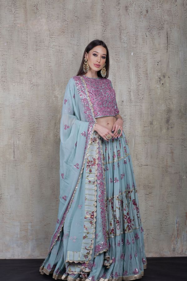 Blue Lehenga with Crop Top and Dupatta