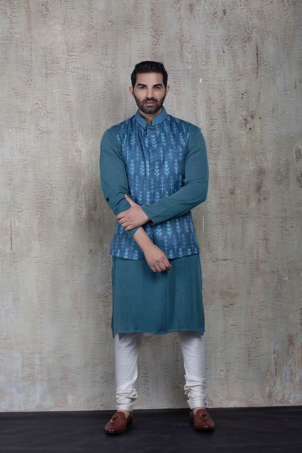 Blue Printed Bundi with Textured Kurta and Plain Churidar