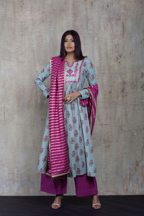 Blue Printed Front Gather Kurta with Pink Pant and Dupatta