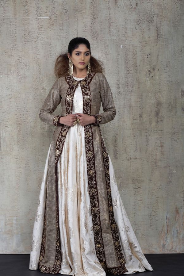 Brown Cape with Floor Length Gown