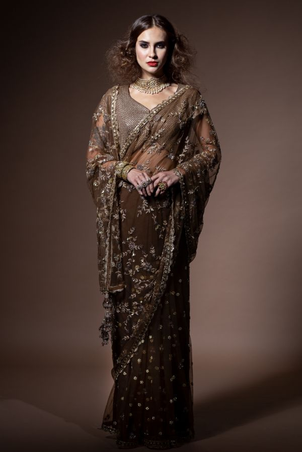 Brown Embroidered Spree with Choli