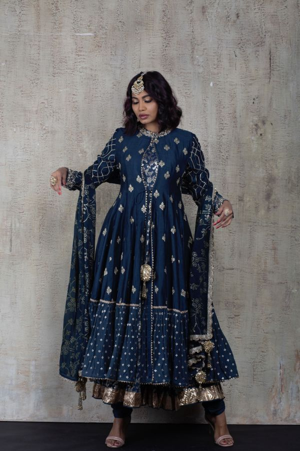 Cobalt Blue Cape with Kalidar Pant and Dupatta