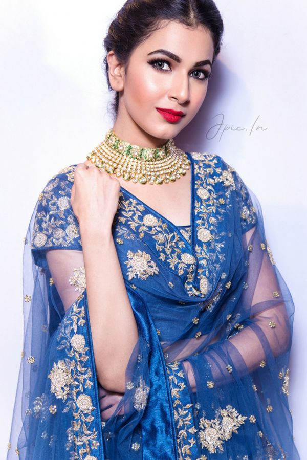 Cobalt Blue Lehenga with Choli and Dupatta