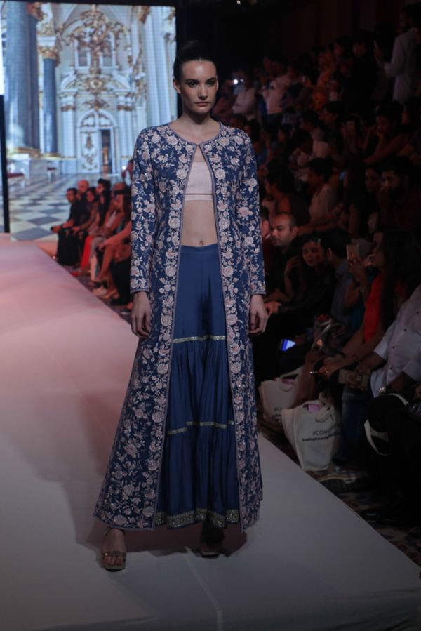 Cobalt Blue Suede Cape with Sharara