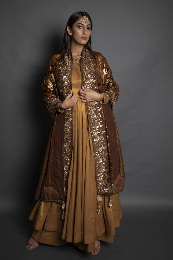 Copper Anarkali with Pants and Brown Dupatta