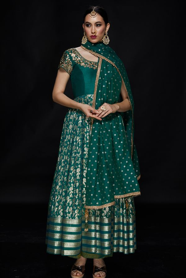 Emerald Green Anarkali with Pant and Dupatta