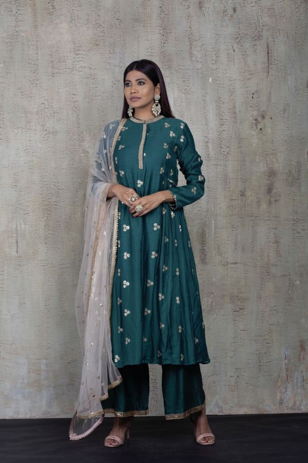 Emerald Green Side Gather Kurta with Pant and Baby Pink Dupatta
