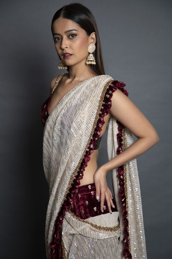 Gold and Maroon Drape Spree with Bustier Choli