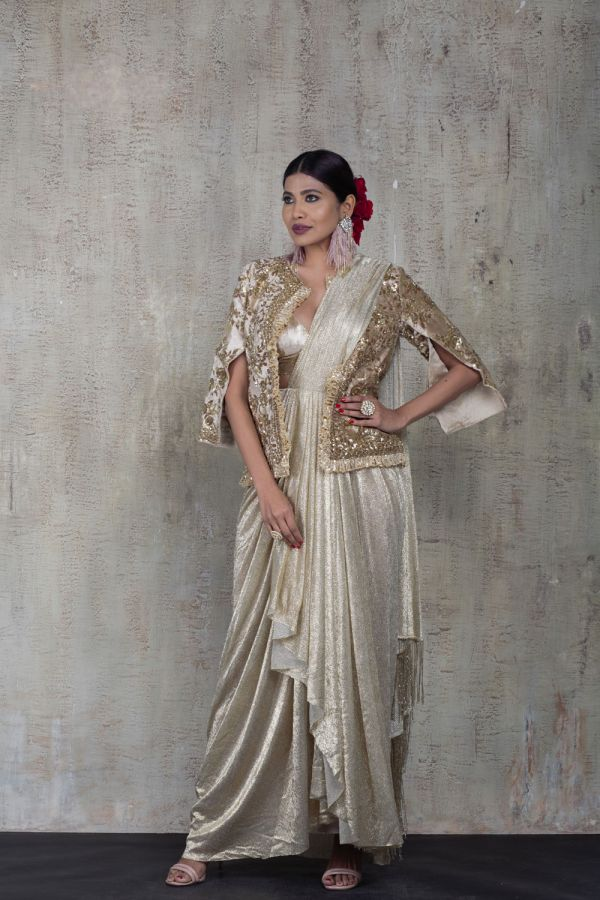 Gold Drape Saree with Gold Embroidered Jacket