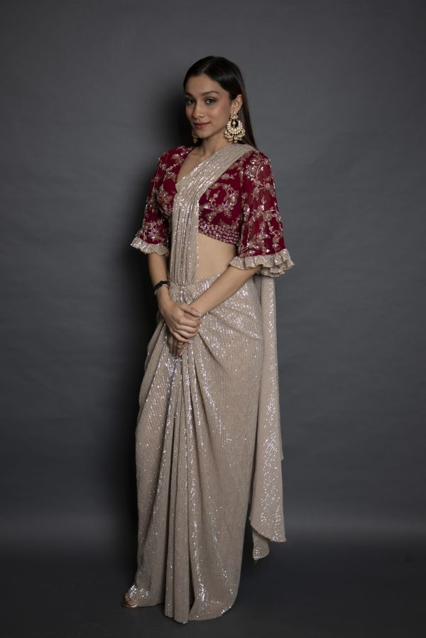 Gold Drape Saree with Cherry Red Blouse