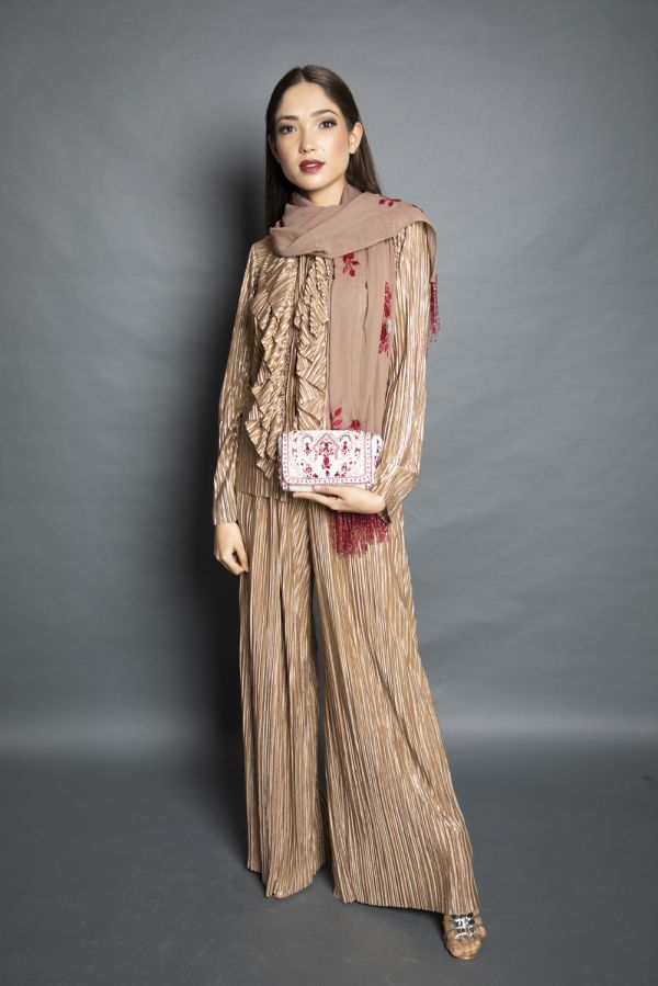 Gold Ruffled Shirt with Pant and Stole