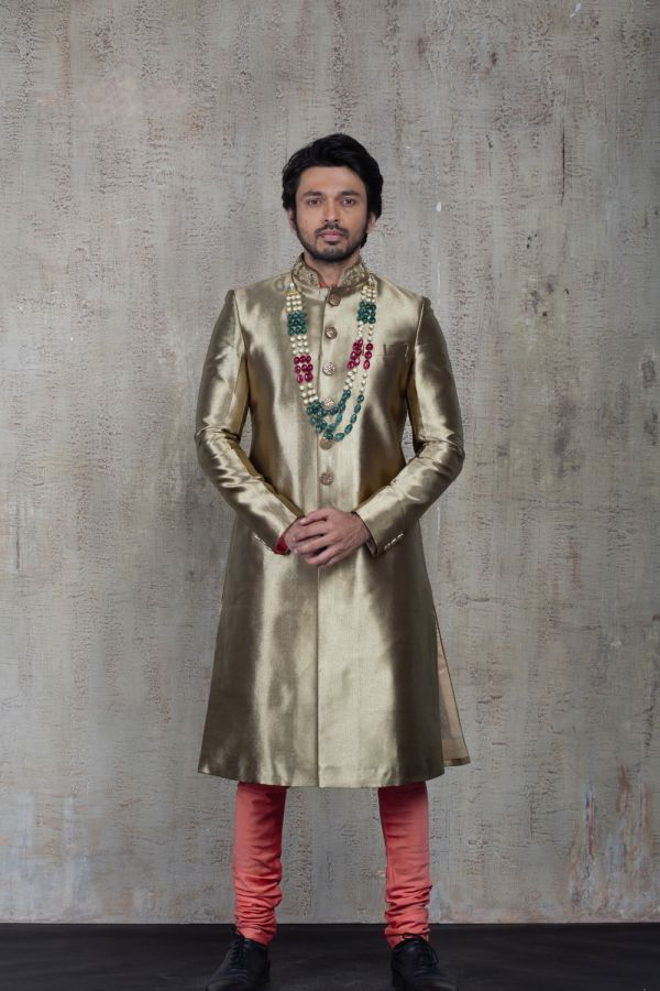 Gold Sherwani with Plain Kurta and Churidar