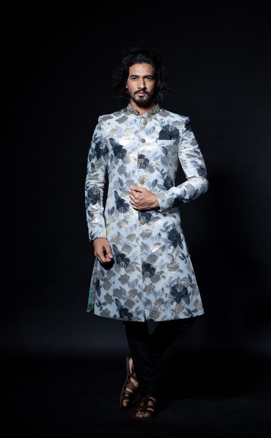 Grey and Black Embossed Bandi with Black Plain Kurta and Churidar