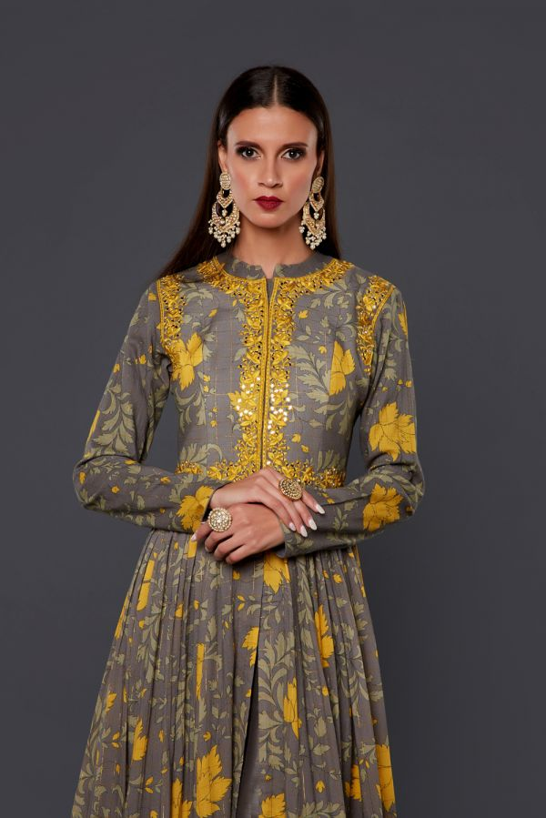 Grey and Yellow Printed Cape with Pant