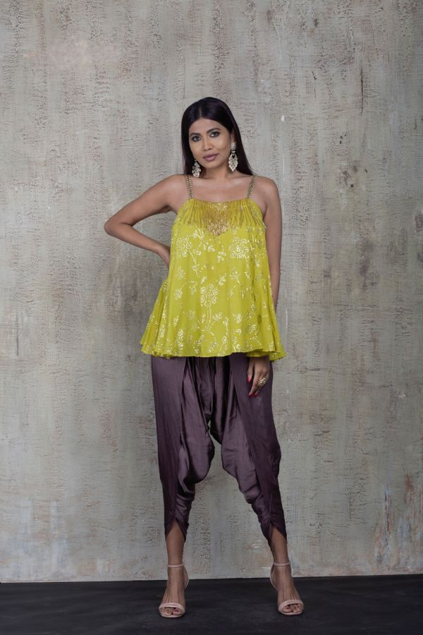 Lime Singlet with Grey Tulip Pants