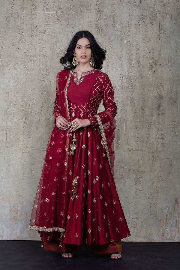 Maroon Anarkali with Pant and Dupatta