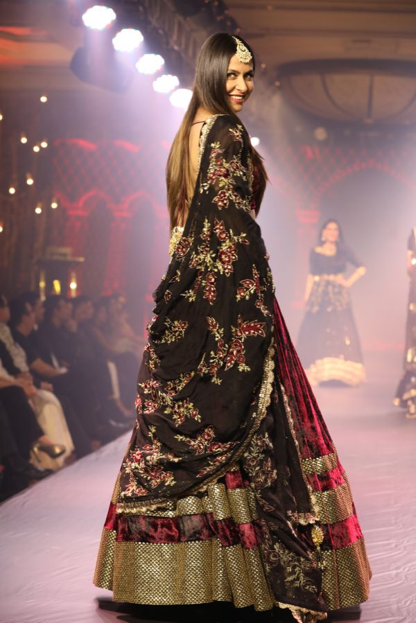 Maroon and Black Tie Dye Lehenga with Organza Dupatta