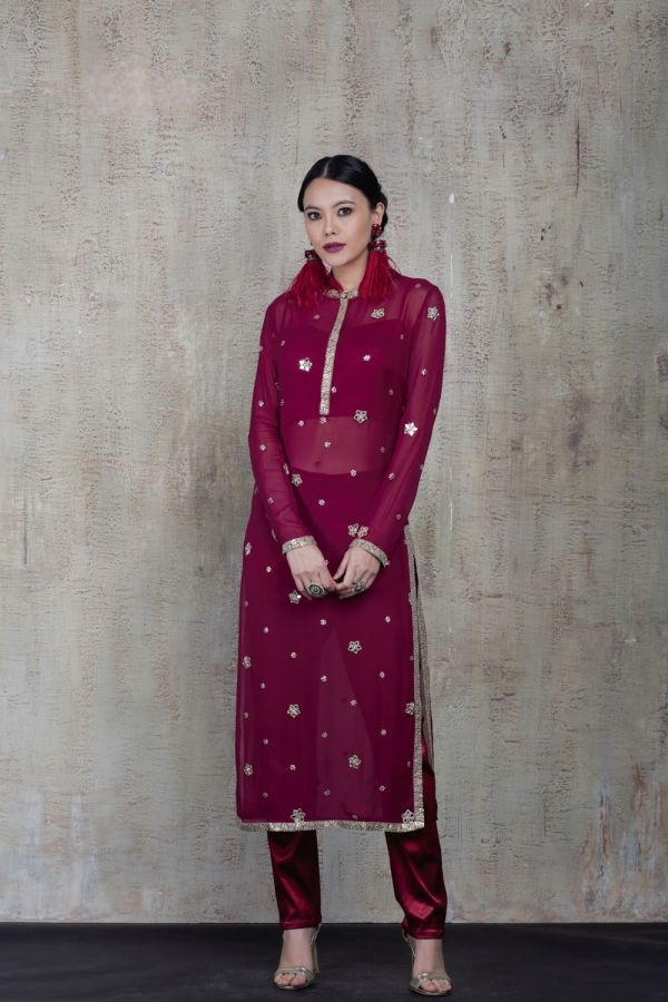 Maroon Kurta with Bustier and Pant