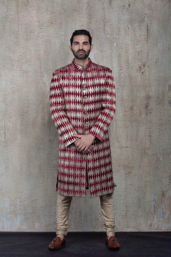 Maroon Thread Work Sherwani with Plain Kurta and Churidar