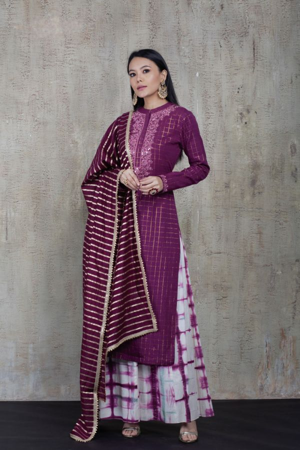 Mauve Kurta with Tie Dye Kali Pant and Mauve Dupatta