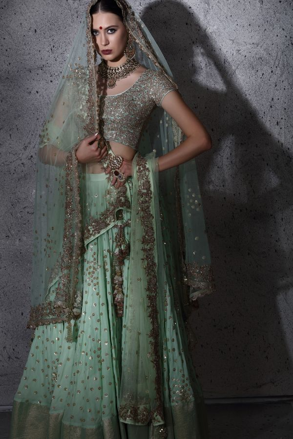 Mint Allover Sequin Work Lehenga with Choli and Dupatta