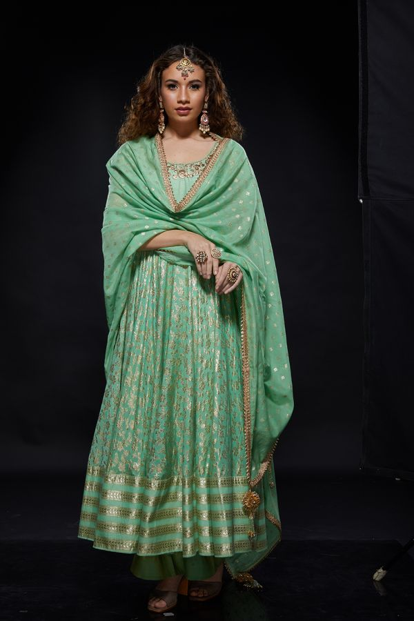 Mint Anarkali with Pants and Dupatta