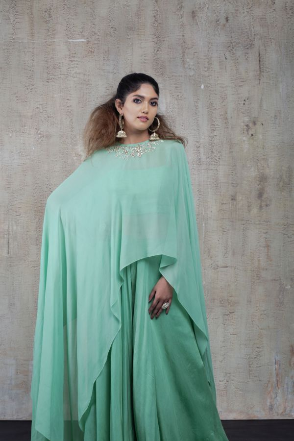 Mint Cape with Sharara Pant and Bustier
