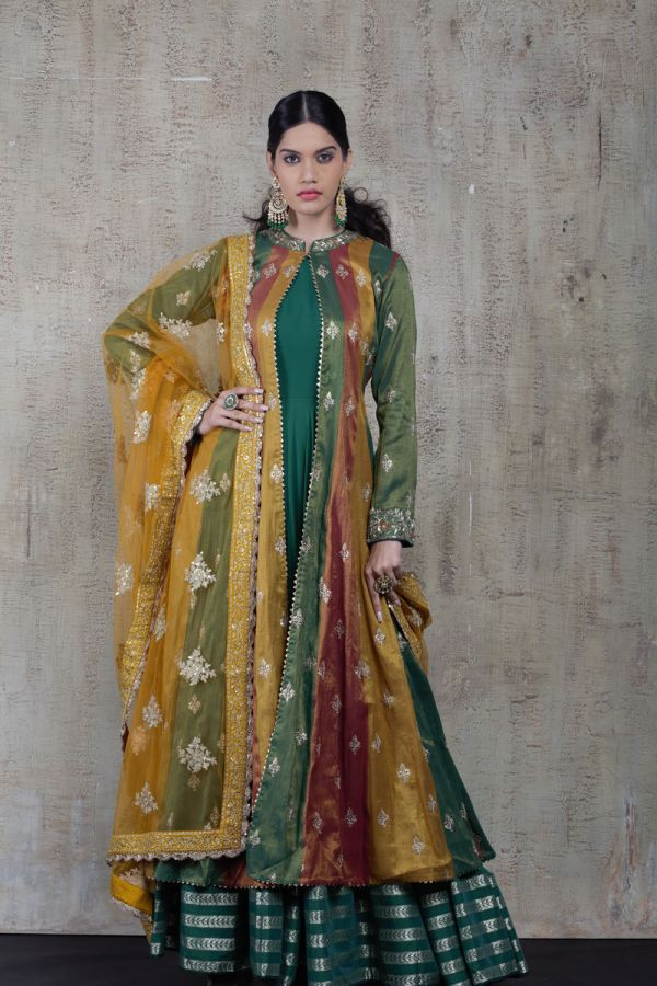 Multi-Coloured Cape with Kalidar and Dupatta
